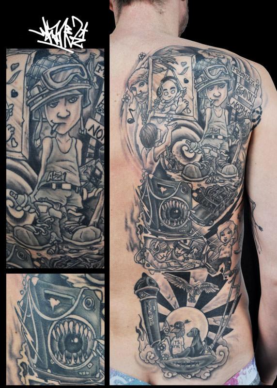 Backpiece, Rückentattoo, black and grey, comic, Tattoos, story, DJ, Music