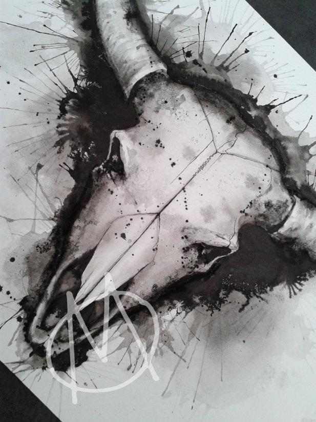 drawing, watercolor, bull, bullshead, skull, schädel, stier, aquarell, wannado, dark