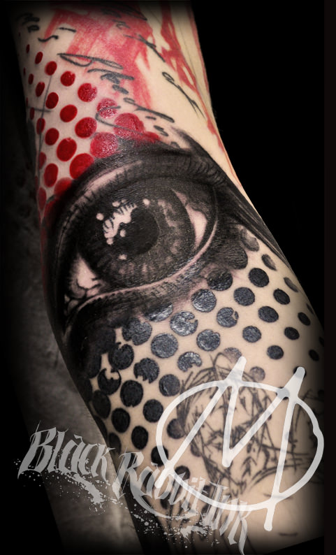 realistic, dots, auge, schwarz, rot