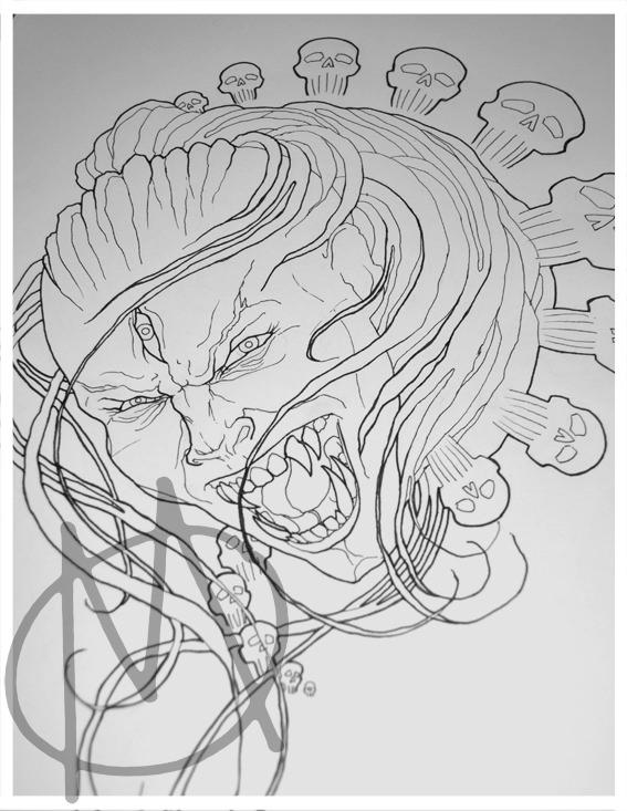 drawing, kali, demon, portrait, evil, wannado