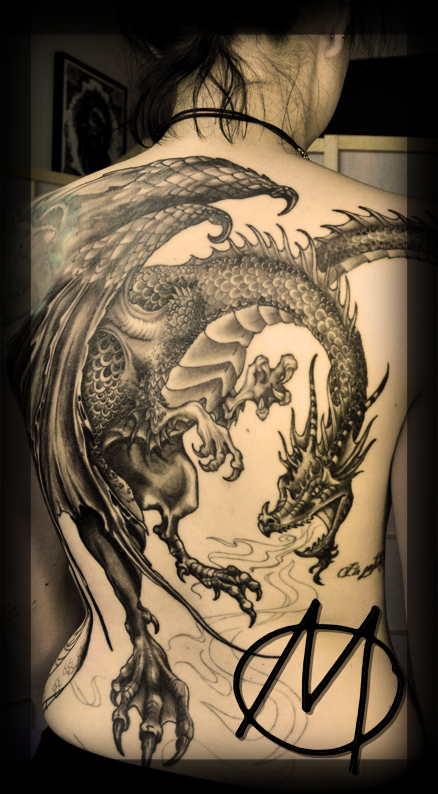 Dragon, Black & Grey, tattoo, backpiece, drache, schuppen