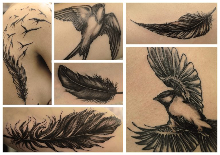 tattoo, realistic, feathers, federn, bird, vogel, kohlmeise
