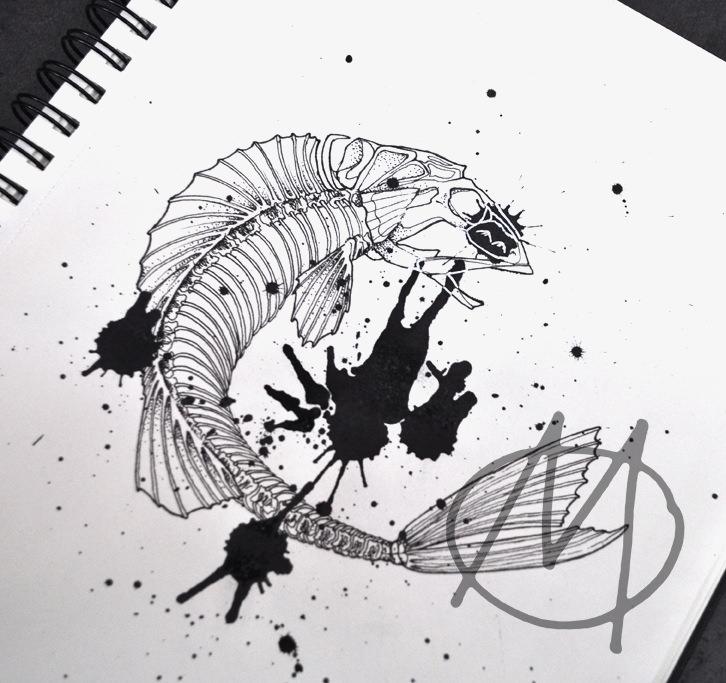 drawing, dotwork, fish, fisch, wannado, gräten, skelett, carcase, splashes, ink, black