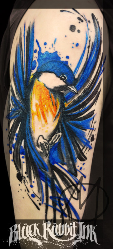 sketchy, bird, blaumeise, watercolor, tattoo, spritzer, modern, art
