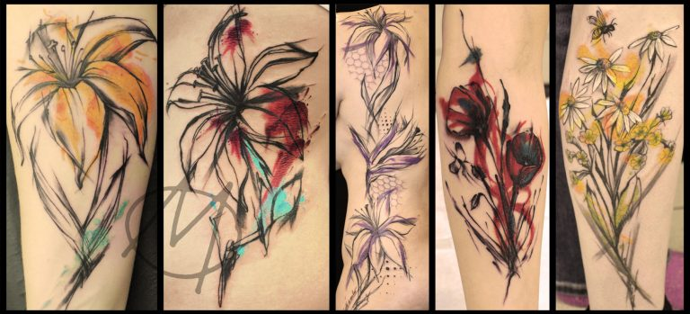 sketch, flowers, blumen, watercolor, lilie,margeriten, aquarell, mohnblume, abstract, tattoo, lilly, moder, art