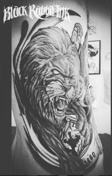 lion, 1860,fussball, münchen tattoo rippentattoo tattooed
