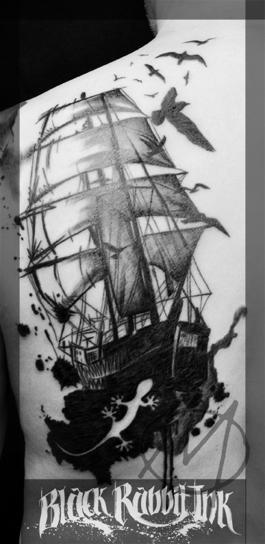 tattoo, sketchy, watercolor, boat, segelschiff, sailing, ship, splashes, gecko