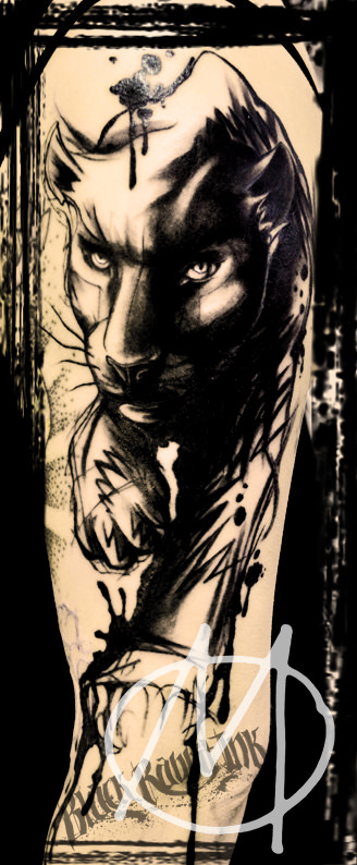 tattoo, panther, black, schwarz, modern, art, sketchy, watercolor