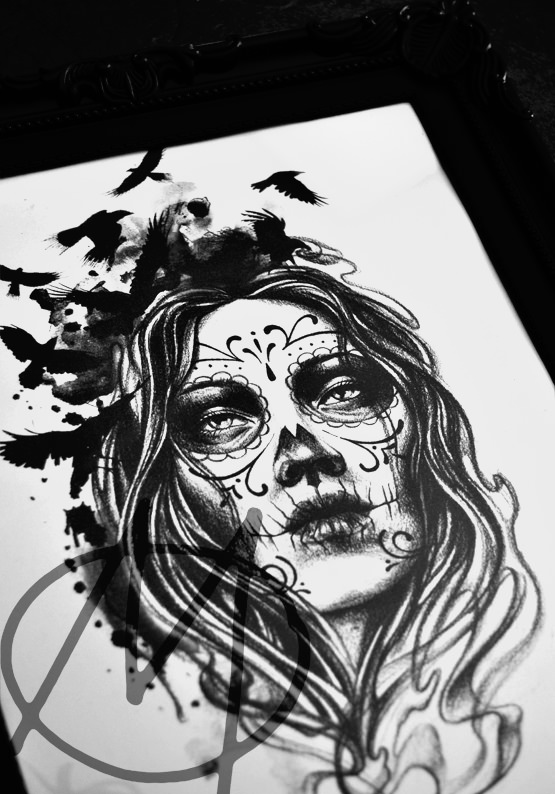 drawing, dark, portrait, woman, death, santa muerte, realistic, composeting, raven, raben, watercolor