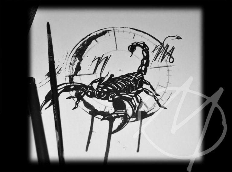 drawing, black, ink, skorpion, scorpio, sternzeichen, zodiac sign