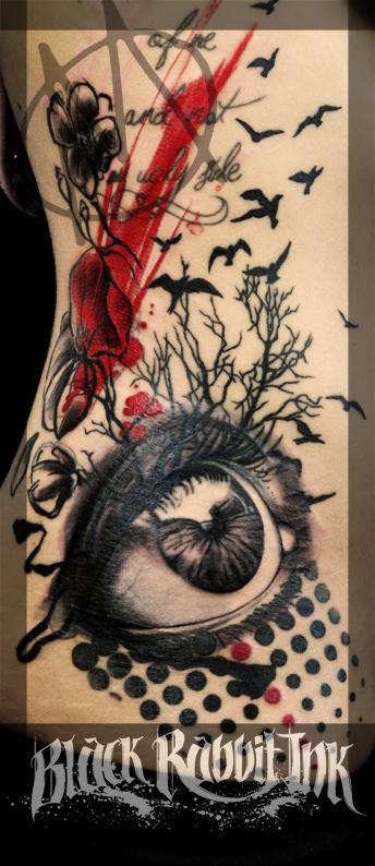 auge, realistic, dots, punktraster, blumen, sketchy, dark, tattoo