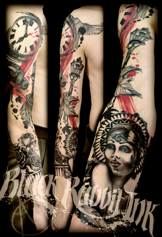black & grey, tattoo, dreissiger, hotrod, clock, uhr, pinup, roses, scratch, strassenlampe, streetlight, spots, sleeve