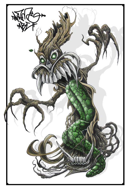 Voodoo, wannado, tattoo , flash , tattooflash, shameabc, graffiti, charakter, art, painting, illustration Baum, tree