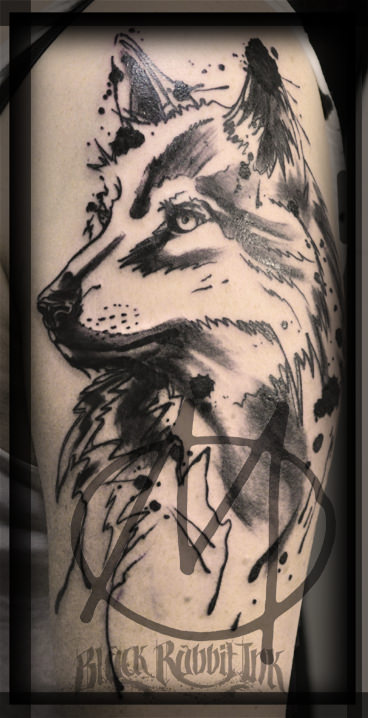 tattoo, black and grey, sketchy, wolf, portrait, modern, art