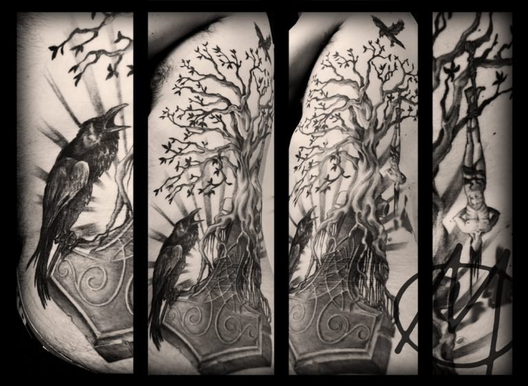 tattoo, black and grey, baum, tree, odin, thors hammer, raven, rabe, dark