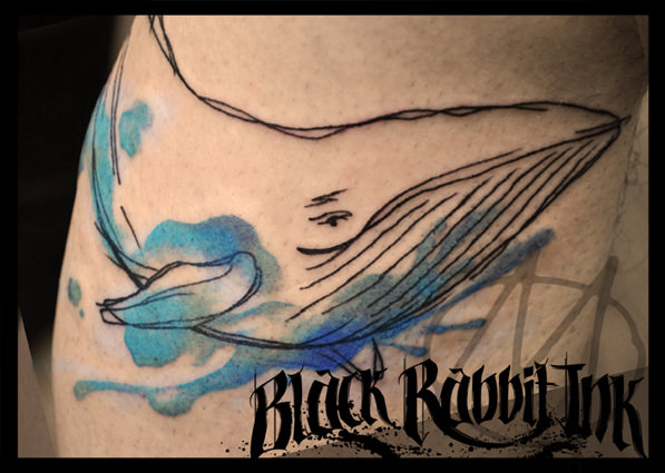 wal, whale, watercolor, tattoo, blauwal, sketchy, skizze, modern, art