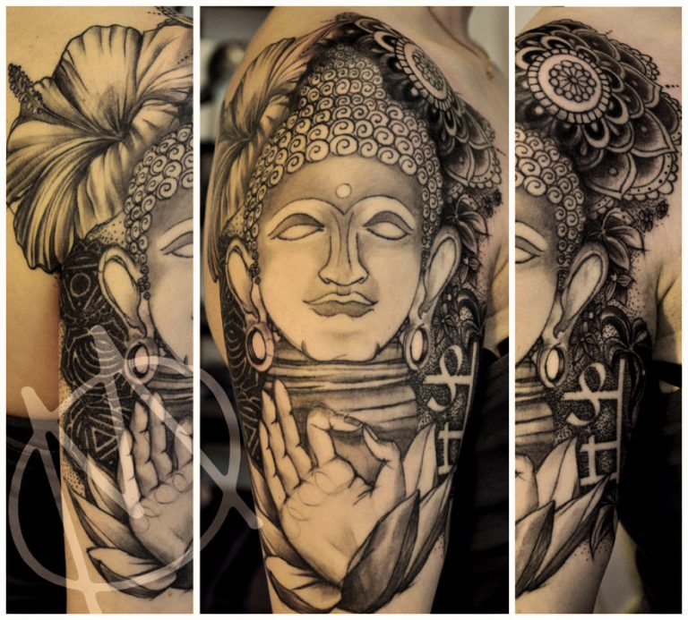 buddha, black & grey, sketchy, henna, lilie, meditation, dotwork, tattoo