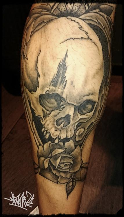 Skull, Wade, Tattoos, tattooed, black and grey, munich, munichtattooers
