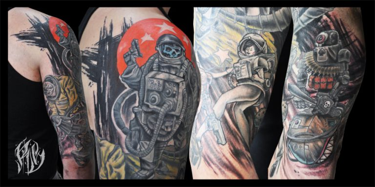 death Astronaut, sleeve, Tattoo , Tattoos, color, comic, shameyabc