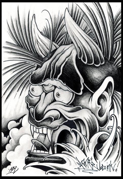 Hanjamaske, Japanes, tattoo, art, Kunst, Illustration, drawind, tattoovorlage