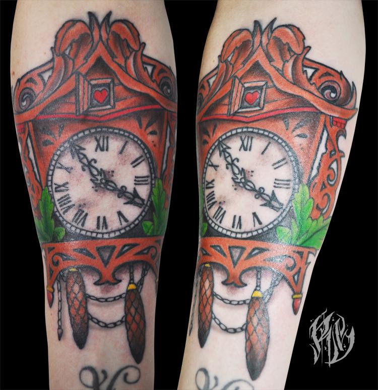 Black Forrest, Kuckuksuhr Tattoo, Tattoos, München, Schwarzwald, Colortattoo, sleeved