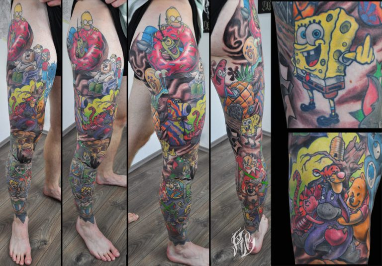 Cartoon, Komik, Tattoo, Fullsleevetattoo, shameyabc, Munichtattooer, Black Rabbit Ink, Munich, Tattoolovers, Colortattoo