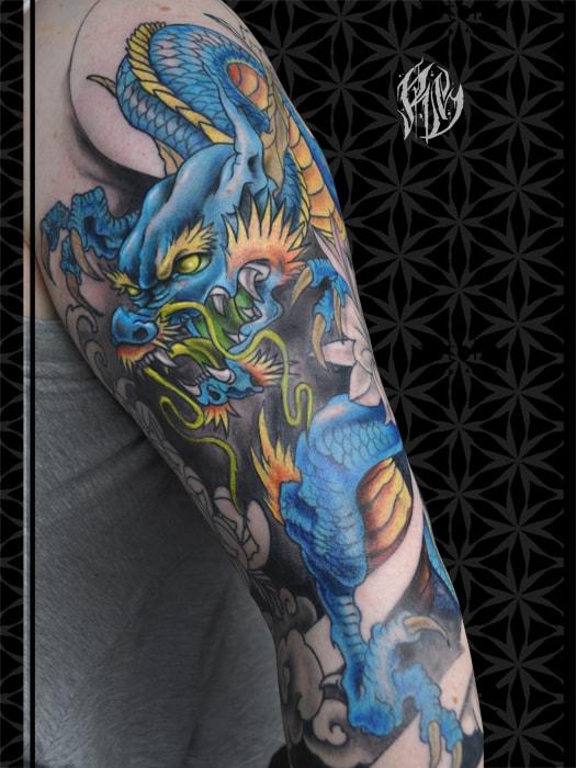 Japanese, Tattoo, Dragontattoo, chinesischer Drache, colortattoo tattoostudio, japanische tat