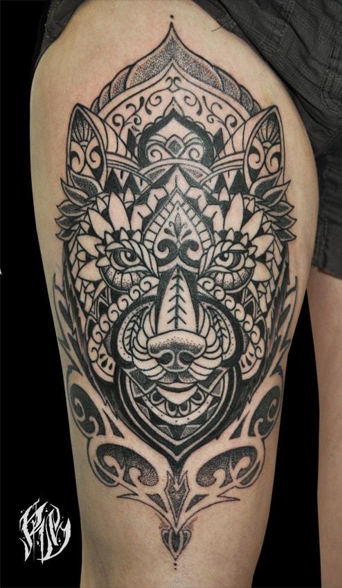 Linework, Tattoostudio, München, Wolftattoo, Ralf Spitzer, Shameyabc, Tattoo, Mandala
