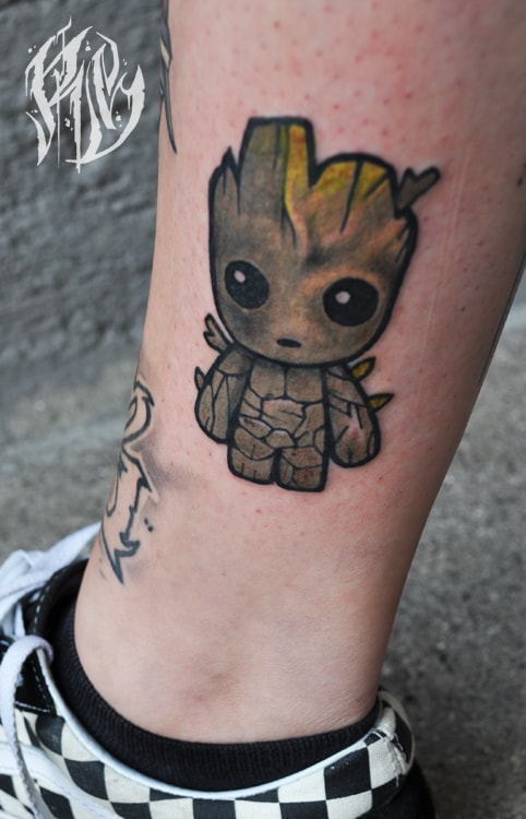 Groot, Black Rabbit Ink, Tattoo, Carttoon, Tattoostudio München, Ralf Spitzer, ShameyABC, Tattoos, Moviecharakter, Girls whit tattoos, Girl Tattoo